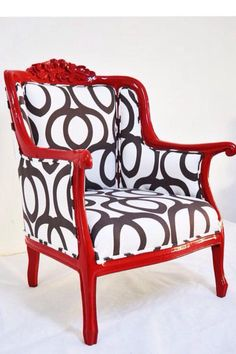 Red armchair with Black and White geometric fabric.by name design studio Chair Upholstery, Upholstered Furniture, Chair Cushions, Chair Makeover, Furniture Makeover, Chair Redo, Funky Furniture, Painted Furniture, Studio Furniture
