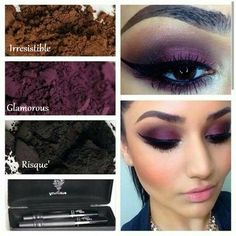 eye makeup tips for a purple smokey eye.  These are beautiful colors to use for a great purple smokey eye.  Colors used for this look: Irresistible, Glamorous, and Risque.  3D Fiber Mascara is used on the lashes.  Click on this image to order these colors and products. You can buy worry free because we have a love it guarantee. #eyemakeuptips