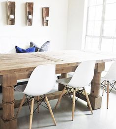 wood table + eames chairs + bench