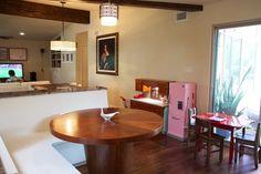 Interesting banquet seating. Aria & Jason's Austin Oasis