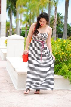Striped maxi dress with floral belt!