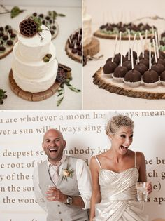 """Adorable cake decoration from Snippet & Ink's """"Real Wedding"""" blog series. Event design by Bash, Please. I love the natural/nature look."""
