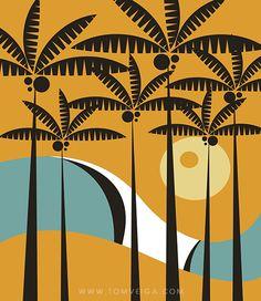 Palms by Tom Veiga Palm Tree Art, Posca Art, Tiki Art, Caribbean Art, Madhubani Art, Vintage Surf, Tropical Art, Mid Century Art, Arte Pop