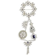 Women's Burberry Crystal Daisy Chain Chandelier Brooch ($995) ❤ liked on Polyvore featuring jewelry, brooches, pale lavender, burberry, crystal stone jewelry, chandelier jewelry, crystal brooch and crystal jewelry