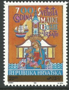 Croatia 1992 - Shrine of the Virgin 700th Anniversary OVPT Religion - Sc 103 MNH