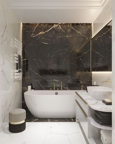 Small Luxury Bathrooms, Modern Luxury Bathroom, Bathroom Design Luxury, Minimalist Bathroom, Dream Bathrooms, Modern Bathroom Design, Home Interior Design, Minimalist Interior, Black Marble Bathroom