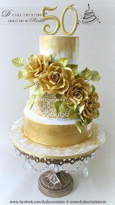 Golden Roses 50th Anniversary Cake