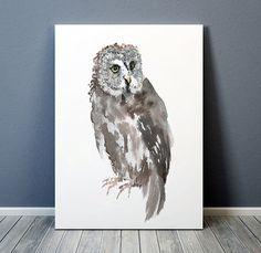 Great grey owl poster Cute bird art print Nursery watercolor ACW159