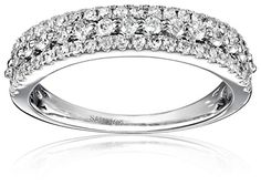 10k White Gold Diamond 12cttw HI Color I2I3 Clarity Anniversary Ring Size 7 >>> You can get additional details at the image link.