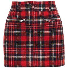 Filles A Papa Tartan Wool Mini Skirt (2.848.300 VND) ❤ liked on Polyvore featuring skirts, mini skirts, bottoms, faldas, red, red tartan skirts, red plaid mini skirt, short skirts, short plaid skirt and mini skirt