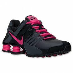Tênis Nike Shox Women's Current Running Shoes Black Vivid Pink Anthracite #Tênis #Nike Shox