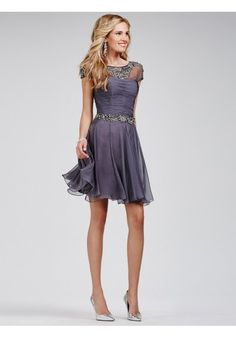2015 Style A-line Scoop Short/Mini Chiffon Homecoming Dresses/Cocktail Dresses #SH004