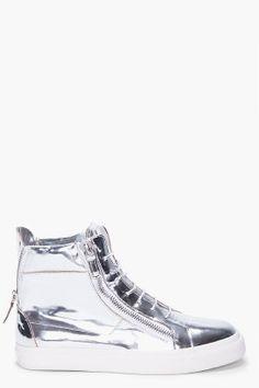 GIUSEPPE ZANOTTI - Silver Mirror High Tops ($725) A girl is allowed to dream