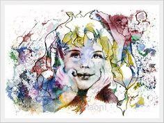 ♡ DEFI DECEMBRE ♡ Affiche d'artiste FUSAIN HEUREUSE FILLETTE REVEUSE de MAONI : Affiches, illustrations, posters par jus-d-etoiles