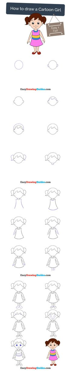 Learn How to Draw a Cartoon GIrl: Easy Step-by-Step Drawing Tutorial for Kids and Beginners. #girl #cartoon #drawing #tutorial. See the full tutorial at https://easydrawingguides.com/draw-cartoon-girl/