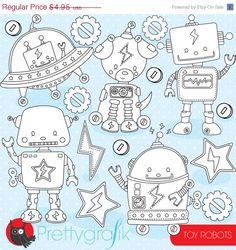 80% OFF SALE Toy robots digital stamp commercial use, vector graphics, digital stamp, digital images - DS801