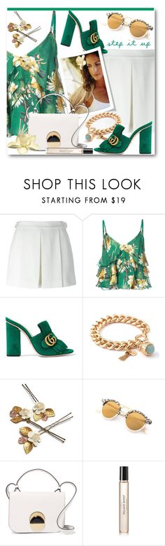 """""""Fringed Mules and Floral Top"""" by brendariley-1 ❤ liked on Polyvore featuring Alexander Wang, Alice + Olivia, Gucci, Spartina 449, Magnolia Pearl, Marni, Byredo, suede, gucci and mules"""