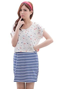 9055658ee5285 Bearsland Women's Breastfeeding and Nursing Striped Summer Dress with Shirt  Over Top Made of cotton, spandex Single long tank dress colorful color  striped ...