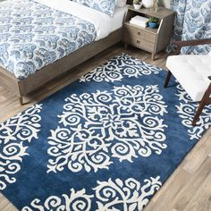 Shop for Andrew Charles Paisley Park Collection Exotic Navy Area Rug (5' x 8')…
