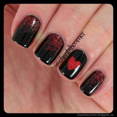 Valentine nail designs, red nail designs, valentine nail art, nails f Fancy Nails, Love Nails, Trendy Nails, My Nails, Dark Nails, Red Black Nails, Dark Nail Art, Style Nails, Pink Black