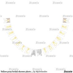 Yellow posy bridal shower photo bunting flags