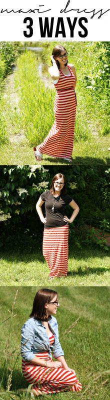 How to Style a Maxi Dress: 3 Ways @shopgracieb.com.com.com #maxi #dress #fashion #style #wiww #ootd #redstripes #chambray #black #style #3ways
