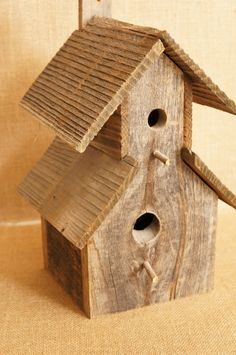 Large Rustic Barnwood / Barn wood Birdhouse by FestiveHomeDesigns, $34.00