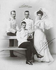 "The Vladimirovichi siblings ~ Grand Dukes Boris,Kirill and Andrei with the Grand Duchess Elena. ""AL"""