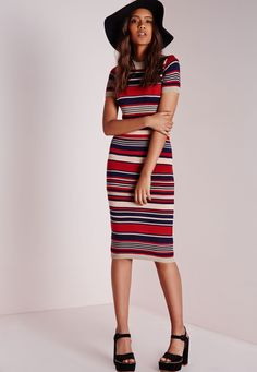 Missguided - Striped Lurex Knitted Dress Navy