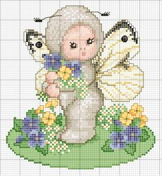 Schema punto croce Farfalla-primavera