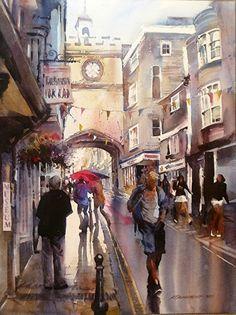 Totnes , Devon- Watercolor by Kristi Grussendorf  A very good likeness of the main street in Totnes