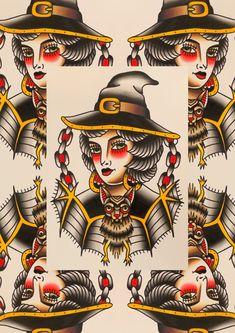 Traditional Witch And Familiar Tattoo Print   Etsy Traditional Tattoo Design, Traditional Tattoos, Witchcraft Tattoos, Tarot Tattoo, Tattoo Flash Sheet, Traditional Witchcraft, Old School Tattoo Designs, Witch Tattoo, Tattoos For Lovers