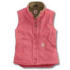 Getting this one.....but I REALLY want the Hot Pink one!!.....Carhartt WV001 - Carhartt Women's Sandstone Mock Neck Vest - Sherpa Lined at Dungarees Carhart Store