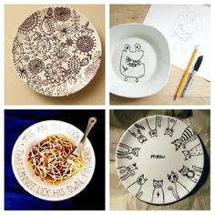 draw doodle or write on a plate then bake it at 150 degrees for 30 minutes to make it permanent