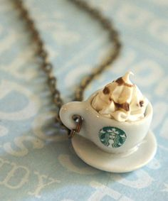 Starbucks coffee necklace ♥Even though don't drink coffee, this is still so adorable!