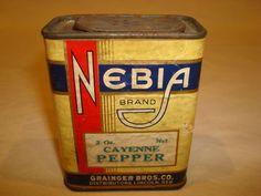 RARE Vintage Nebia Paper Label Cayenne Pepper Spice Tin Kitchen Decor Grainger   eBay