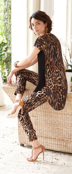 Chico's Black Label Animal Print Soft Ankle Pant. Go wild in leopard on leopard.