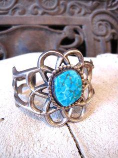 vintage Native American Indian sterling silver turquoise cuff bracelet sancast Navajo Tufa
