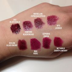 Berry or wine lipstick colors. All except Black Dahlia for TW. DW can wear the darkest Wine Lipstick, Berry Lipstick, Lipstick Dupes, Dark Lipstick, Lipstick Shades, Makeup Dupes, Lipstick Colors, Lip Colors, Lipsticks