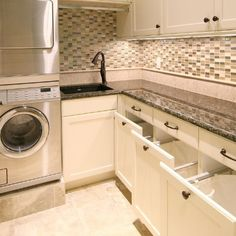 Great laundry room with built-in hampers