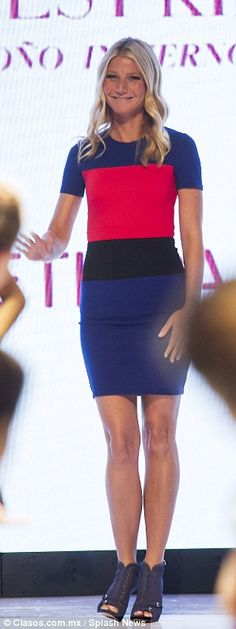The Goop founder showed off her svelte physique in a striking colour-block skintight dress...