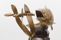 This bronze salmon is created by Nathan Scott in a limited edition of 25
