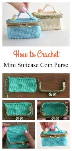 Crochet Handbags How to Crochet Mini Suitcase Coin Purse Purse Patterns Free, Coin Purse Pattern, Coin Purse Tutorial, Crochet Purse Patterns, Free Pattern, Knitting Patterns, Pouch Tutorial, Knitting Yarn, Sewing Patterns