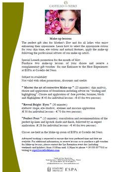 For a perfect Make Up, take advantage of or promotion still available until May 31st at our ESPA Centre