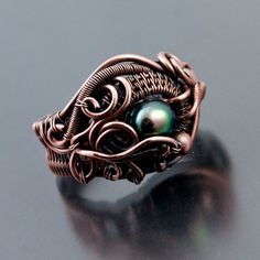 Freshwater Pearl and Copper Ring Ocean's Breath by sarahndippity