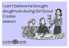 everyone remember your favorite Girl Scout this year! Girl Scout Cookie Meme, Buy Girl Scout Cookies, Girl Scout Cookie Sales, Daisy Girl Scouts, Girl Scout Troop, Troop Beverly Hills, Gs Cookies, Girl Scout Crafts, Story Of My Life