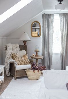 Want a chunky throw for my office chair! Farmhouse Fall Family Room with Warm golds, plum branches, white pumpkins and candle light. Family Room Decorating, Family Room Design, Interior Design Living Room, Living Room Decor, Decorating Tips, Living Rooms, Unique Home Decor, Vintage Home Decor, Home Design