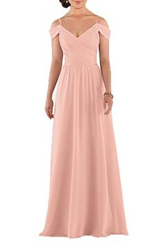 Honey Qiao Bridesmaid Dresses Chiffon Pleat Off the Shoulder Sheath Maid of Honor Gowns