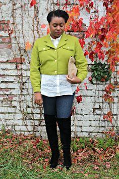 green crop jacket, thigh high boots, button down shirt
