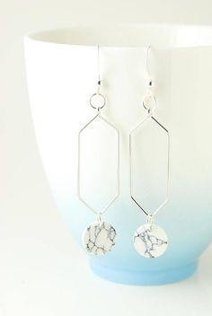 Silver Hexagon Earrings Minimalist Earrings Simple Everyday